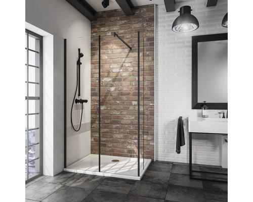 Paroi de douche à l''italienne Loft Schulte Alexa Style 2.0 120x30 cm verre transparent couleur de profilé noir
