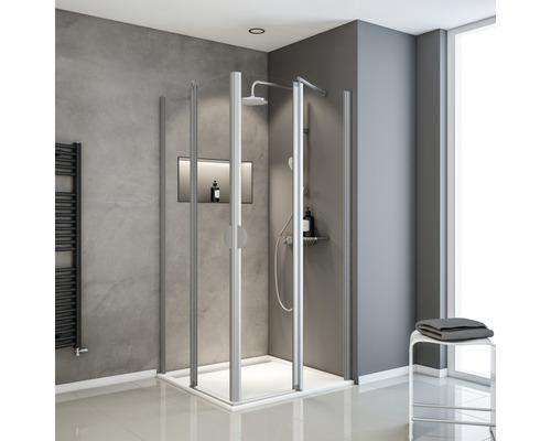 Accès d''angle avec porte pivotante Schulte Lugano 80/80 cm verre transparent couleur du profilé aluminium