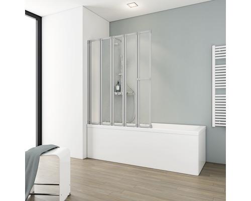 Pare-baignoire Schulte 5 pièces Décor Softline claire Alu-Nature avec porte-serviettes