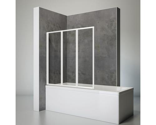 Pare-baignoire Schulte 3 pièce avec paroi latérale Verre synthétique transparent blanc alpin