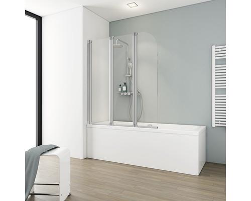 Pare-baignoire Schulte 3 pièces avec paroi latérale Verre synthétique transparent Alu-Nature