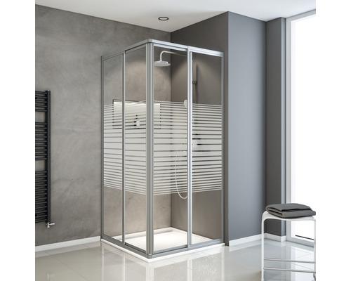 Eckeinstieg Schulte Sunny variabel 80-90 cm Dekor Querstreifen Profilfarbe aluminium