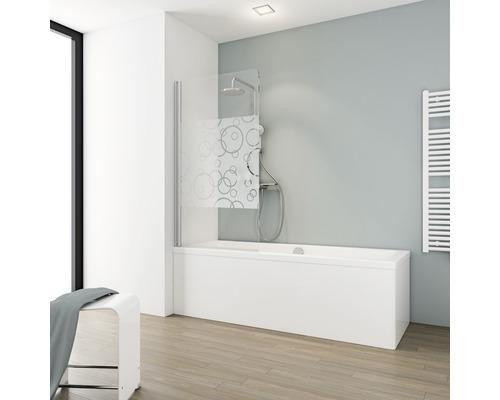 Pare-baignoire Schulte 1 pièce à gauche Verre véritable décor circulaire alu nature