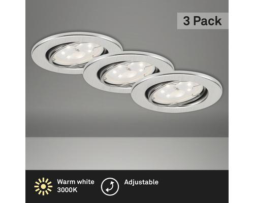Éclairage à LED à encastrer lot de 3 alu avec ampoule 3x250lm 3000K blanc chaud Ø 68mm rond métal IP23