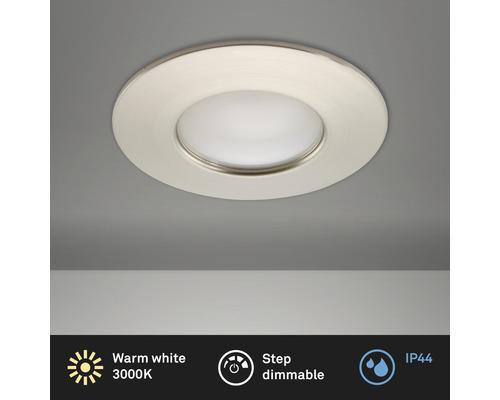 Éclairage à LED à encastrer nickel/mat variable avec ampoule 400lm 3000K blanc chaud Ø 60mm rond plastique IP44