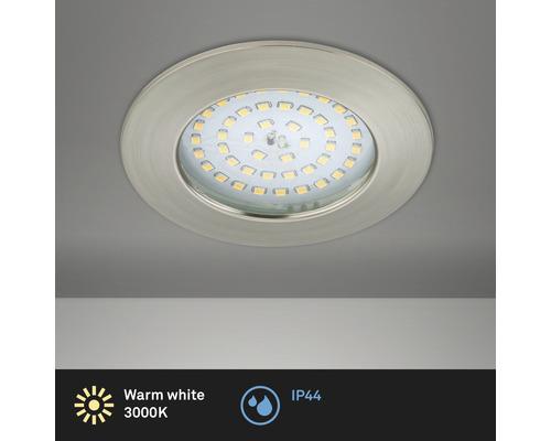 Éclairage à LED à encastrer nickel/mat avec ampoule 1000lm 3000K blanc chaud Ø 85mm rond plastique IP44