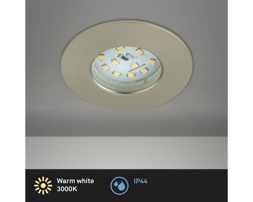 Éclairage à LED à encastrer nickel/mat avec ampoule 400lm 3000K blanc chaud Ø 60mm rond plastique IP44