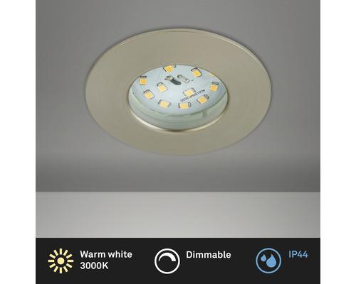 Éclairage à LED à encastrer nickel/mat variable avec ampoule 470lm 3000K blanc chaud Ø 60mm rond plastique IP44
