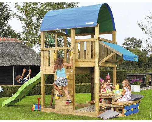 Tour de jeux Jungle Gym Farm en bois avec table, bac à sable, toboggan de couleur vert clair