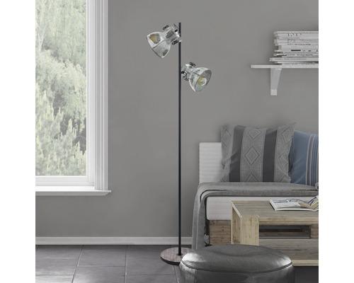 Lampadaire acier/bois à 2 ampoules h 1580 mm Barnstaple marron-patine/noir avec interrupteur à pied