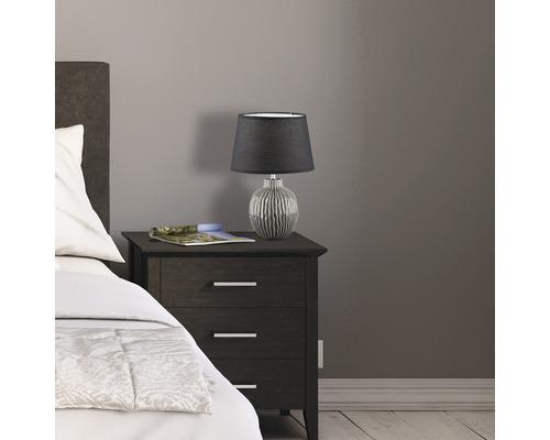Lampe de table céramique/ tissu 1 ampoule hxØ 450x350 mm Anau gris couleur beige/ noir avec cordon avec interrupteur