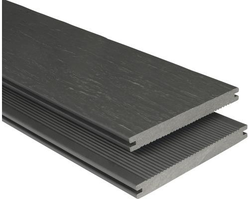 Planche pour terrasse en WPC rustique profilé plein gris-marron 20x190x3000 mm-0