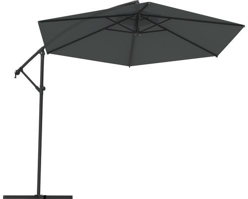 Parasol déporté Soluna Nice Ø 300 cm rond gris foncé avec pied en croix