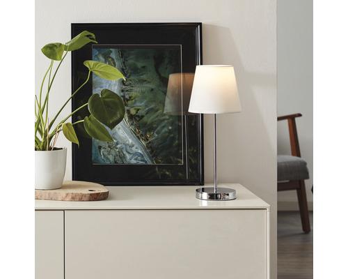 Lampe table 1 ampoule H400mmKasha blanc/chrome