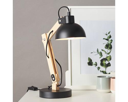Lampe de bureau Moda 1 ampoule h 415 mm bois naturel noir