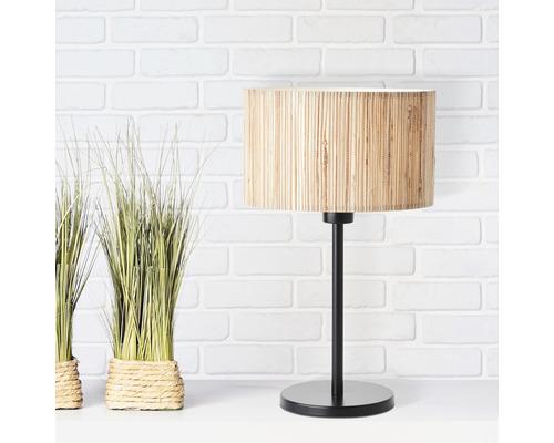 Lampe de table métal/jonc de mer 1 ampoule hxØ 420x250 mm Wimea noir/nature avec commutateur à câble