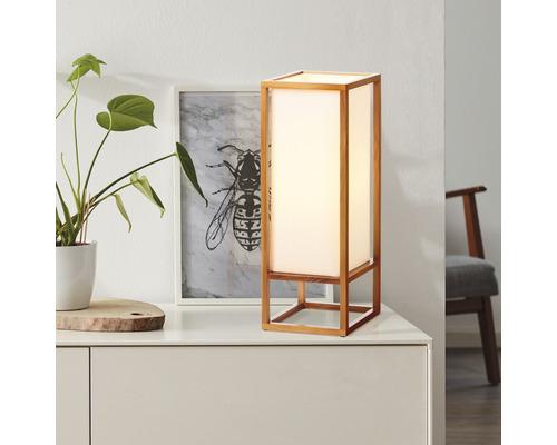 Lampe de table textile/bois 1 ampoule hxlxp 530x200x200 mm Seaside nature/blanc avec commutateur à câble