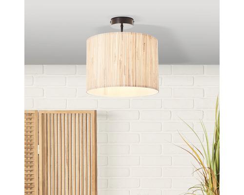 Plafonnier métal/jonc de mer 1 ampoule hxØ 310x300 mm Wimea noir/nature