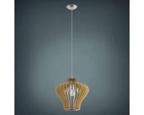 Suspension LED métal/bois 1 ampoule hxØ 1500x 380 mm Cossano nickel mat/bois érable