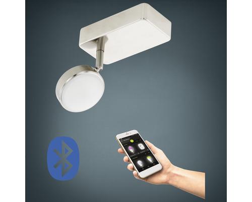 Spot LED RGB CCT nickel/mat à intensité lumineuse variable 1 ampoule 5W 600 lm 2765 K blanc chaud L 80 mm