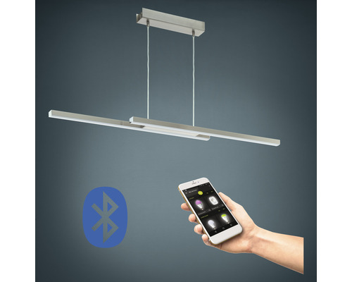 Suspension LED RGB CCT nickel/mat à intensité lumineuse variable 2 ampoules 17W 2300 lm 2765 K blanc chaud L 1055 mm