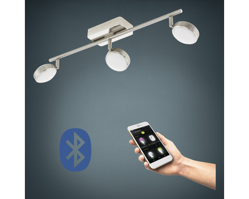 Spot LED RVB CCT nickel/mat à intensité lumineuse variable 3 ampoules 3x5W 3x600 lm 2765 K blanc chaud L 590 mm