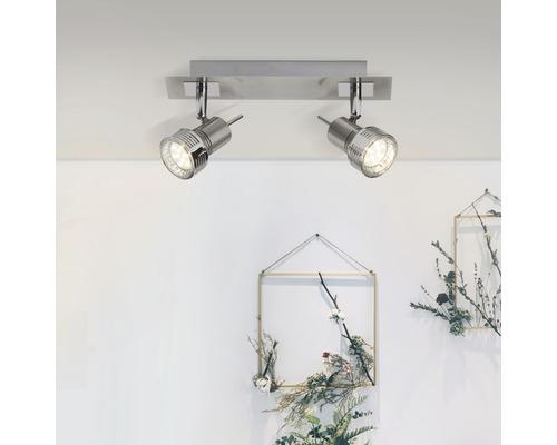Spot de plafond LED 2x2,5W 2x240 lm 3000 K blanc chaud l 305 mm Kassandra fer/chrome/mat