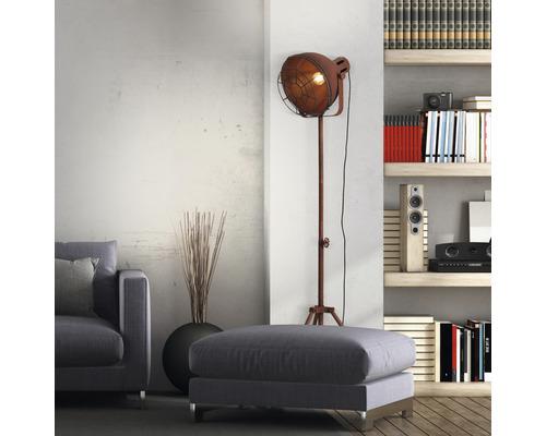 Lampadaire métal à 1 ampoule hxØ 1665x390 mm Jesper couleur rouille avec interrupteur pied