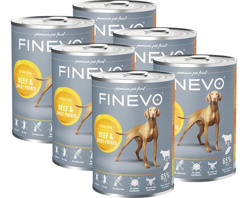 Nourriture humide pour chiens FINEVO bœuf avec de la patate douce 1 pack de 6x800 g