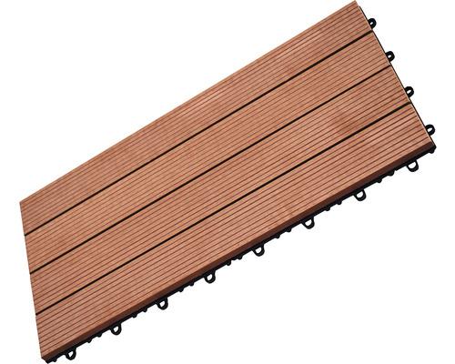 Dalle à clipser WPC 30 x 60 cm, brun