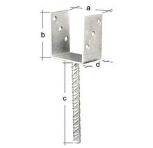 Support de poteaux en U avec ancre en béton en acier Riffel 71x100x200mm, galvanisé à chaud, 1 unité-thumb-1