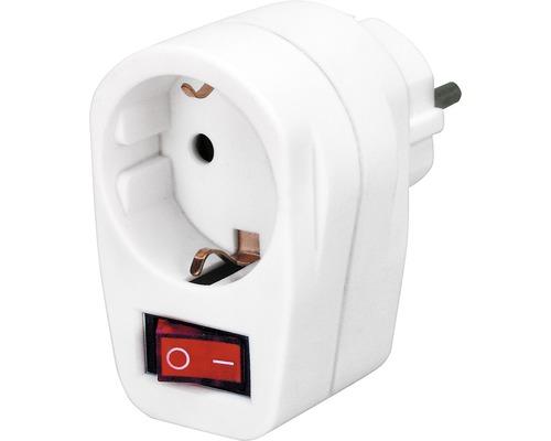 Adaptateur avec interrupteur marche/arrêt et voyant de contrôle blanc