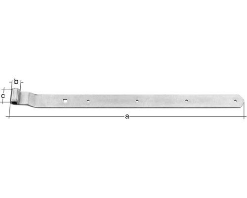 Paumelle de volet Type 6 forme coudée, semi-lourde, 500x13x40mm, acier inoxydable