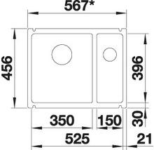 Évier à encastrer BLANCO SUBLINE 350/150-U blanc cristal-thumb-7