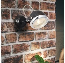 Applique murale 1 ampoule larg.125mm Rider chromé/noir-thumb-0