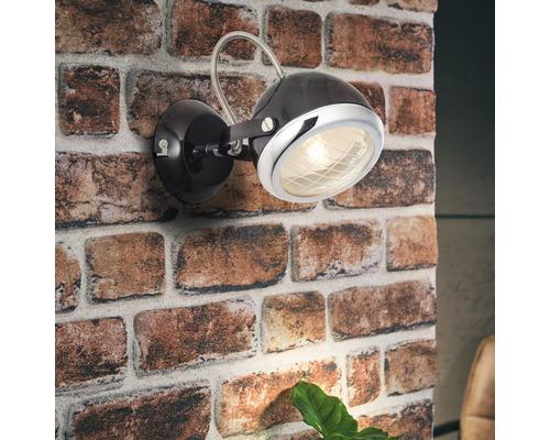 Applique murale 1 ampoule larg.125mm Rider chromé/noir-0