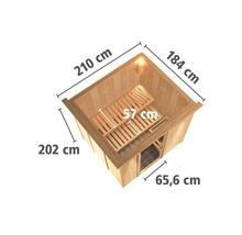 Sauna Plug & Play Karibu kit économique Maria avec poêle 3,6 kW, commande extérieure et frise de toit-thumb-1