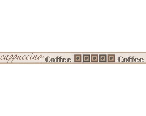 Frise autocollante café beige brun blanc 5 m x 5 cm