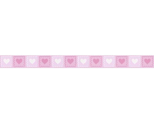 Frise autocollante coeurs blanc rose 5 m x 5 cm
