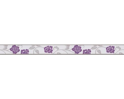 Frise autocollante fleurs lilas gris blanc 5 m x 5 cm