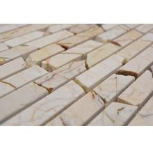 Mosaïque en pierre naturelle Quadrat golden cream poli 30.5x32.2cm-thumb-2