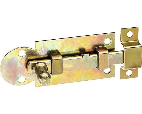 Verrou de fenêtre forme droite avec bouton, 60x26x7,5mm, jaune galvanisé
