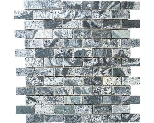 Mosaïque en pierre naturelle XMI 117 argent-noir, 30,5x32,5 cm