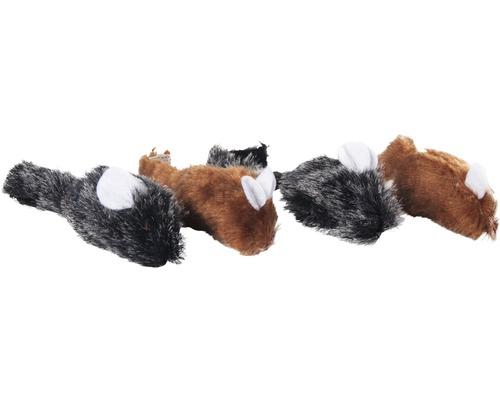 Maus Karlie weich 4 Stück, 5 cm, braun-grau