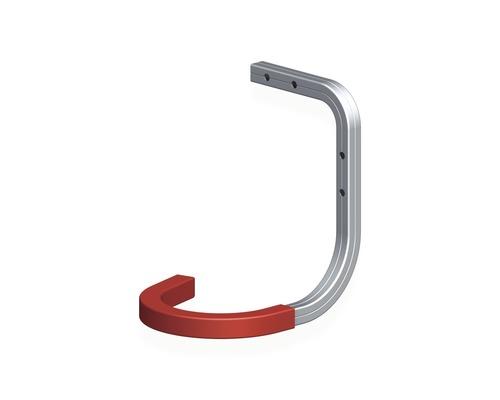 Alfer Wand u. Decken-Fahrradhaken gummiert T 150 x H 150 x B 120 mm, Aluminium blank