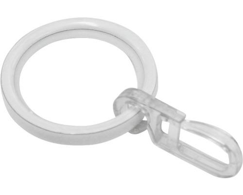 Anneau pour rideau avec crochet Chicago blanc Ø 20mm, lot de 10