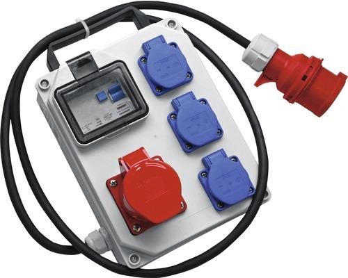 Petit boîtier de distribution mobile PCE 16A IP54 5 pôles gris/rouge/bleu