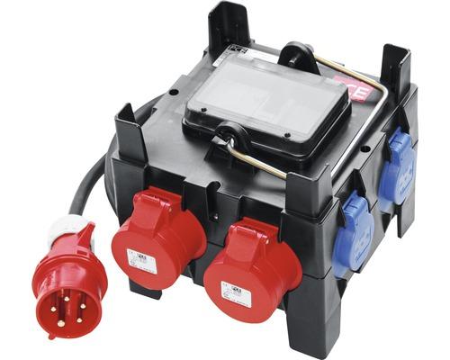 Boîtier de distribution mobile 32A IP54 5 pôles noir/rouge/bleu