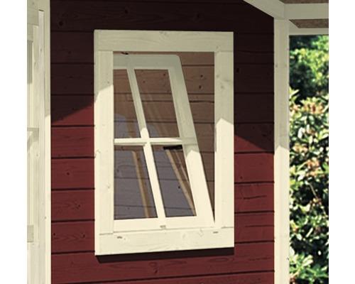 Fenêtre à un vantail pour abri de jardin 28 mm Karibu (oscillo-battante) 69x79 cm blanc ivoire