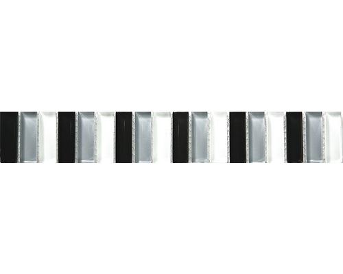 Bordure verre baguette, noir-gris-blanc, 30 x 5 cm